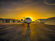 Bombardier 605 on the ramp at sunrise.  Created as advertising for Phillips 66 Aviation Fuels.