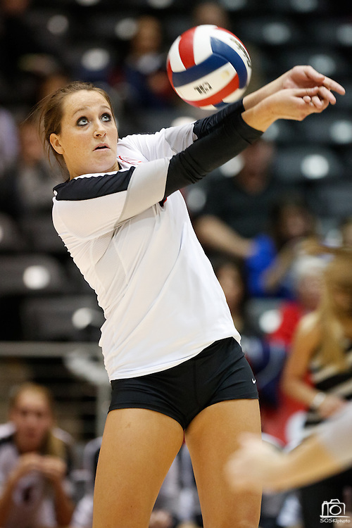 Coppell's Erica Bohannon (5) bumps the ball against New Braunfels in the Class 5A state championship at the Curtis Culwell Center in Garland, Texas, on November 17, 2012.  (Stan Olszewski/The Dallas Morning News)