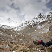 Guide taking a rest. Big Pamir, Afghanistan.
