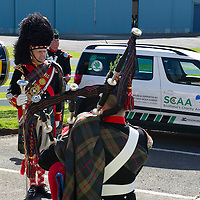 Scotland's Charity Air Ambulance (SCAA) launches from Perth Airport....22.05.13<br /> Tha Atholl Highlanders Pipe Band<br /> Picture by Graeme Hart.<br /> Copyright Perthshire Picture Agency<br /> Tel: 01738 623350  Mobile: 07990 594431