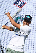 Correze Nepia hits in the batting cage as the new Auckland Tuatara baseball team is announced to play in the Australian Baseball League at the Centre for Conservaion Medicine at Auckland Zoo. 27 August 2018. Copyright Image: Andrew Cornaga / www.photosport.nz
