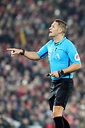 Referee Craig Pawson during the Premier League match between Liverpool and Manchester United at Anfield, Liverpool, England on 19 January 2020.