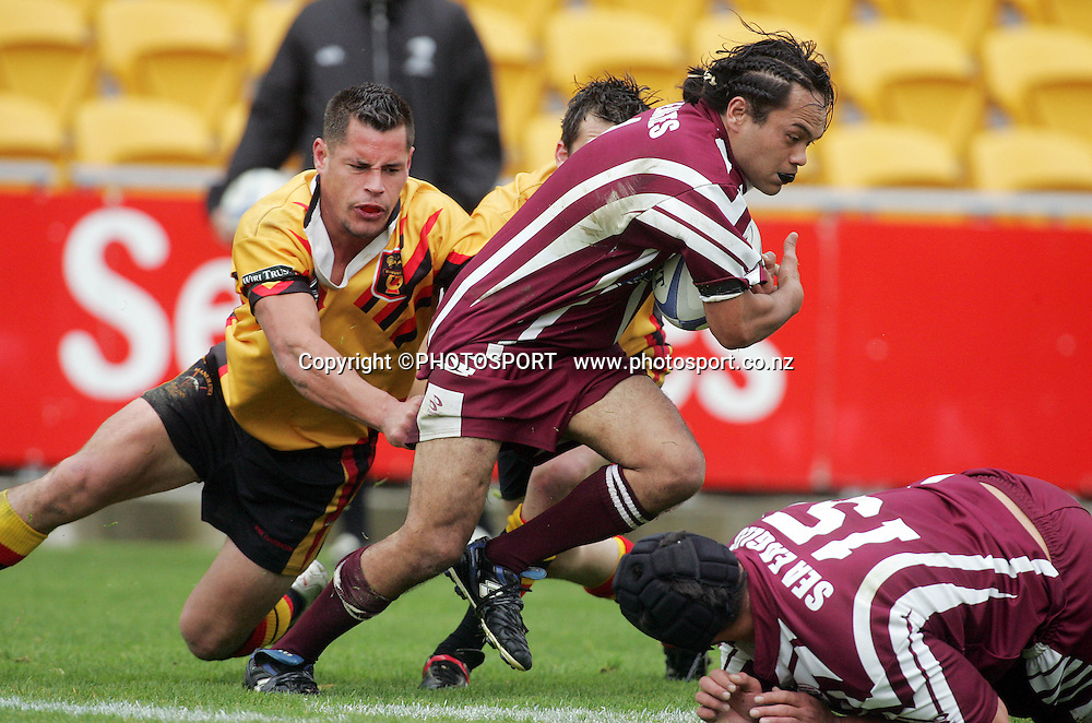 Aaron Tumai during the Fox Memorial Final between Papakura and Manurewa at Ericsson Stadium, Auckland, New Zealand on Sunday September 18, 2005. Manurewa won the match 34 - 24. Photo: PHOTOSPORT