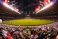 Picture by Andrew Tobin/Focus Images Ltd. 07710 761829. .27/12/11. Firewords are set off before the start of the the Aviva Premiership match between Harlequins and Saracens at Twickenham Stadium, London.