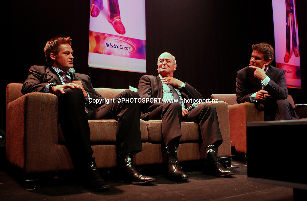 Richie McCaw (L), Sir Graham Henry and MC John Campbell. A Tribute to Sir Graham Henry and Richie McCaw, Telstra Pacific Events Centre, Manukau, Auckland, Thursday 19 April 2012. Photo: Simon Watts / photosport.co.nz