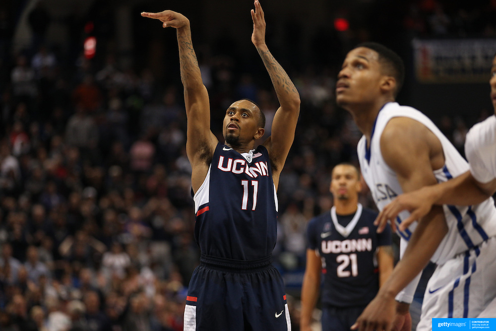 Ryan Boatright, UConn, shoots a free throw during the UConn Huskies Vs Tulsa Semi Final game at the American Athletic Conference Men's College Basketball Championships 2015 at the XL Center, Hartford, Connecticut, USA. 14th March 2015. Photo Tim Clayton