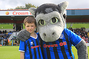 Desmond the Dragon with the young Rochdale mascot during the EFL Sky Bet League 1 match between Rochdale and Gillingham at Spotland, Rochdale, England on 15 September 2018.