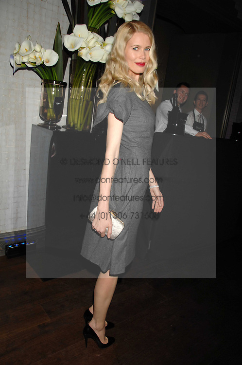 CLAUDIA SCHIFFER at a party to launch the Dom Perignon OEotheque 1995 held at The Landau, Portland Place, London W1 on 26th February 2008.<br />