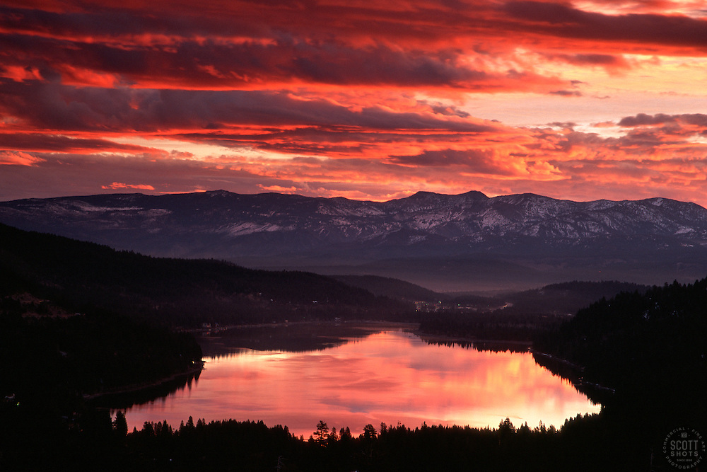 &quot;Donner Lake Sunrise 3&quot;- This sunrise was photographed from the west end of Donner Lake, facing toward the town of Truckee, CA.<br />