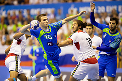 Marko Kotar of Slovenia during handball match between National teams of Portugal and Slovenia in Semifinal of 2018 EHF U20 Men's European Championship, on July 27, 2018 in Arena Zlatorog, Celje, Slovenia. Photo by Urban Urbanc / Sportida
