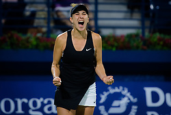 February 23, 2019 - Dubai, ARAB EMIRATES - Belinda Bencic of Switzerland celebrates winning the final of the 2019 Dubai Duty Free Tennis Championships WTA Premier 5 tennis tournament (Credit Image: © AFP7 via ZUMA Wire)