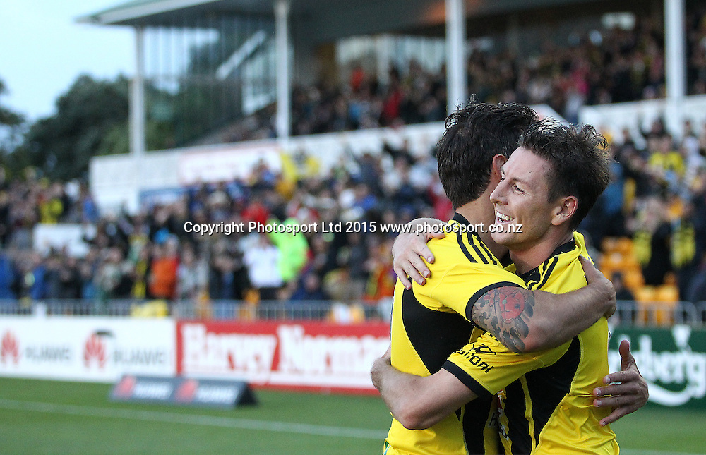 Phoenix' Nathan Burns celebrates his goal with Vince Lia during the A-League football match between the Wellington Phoenix & Adelaide United, at the Hutt Recreational Ground, Wellington, 7th March 2015. Copyright Photo.: Grant Down / www.photosport.co.nz