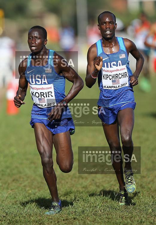 KAMPALA, UGANDA - MARCH 26: Leonard Korir and Shamrock Kipchirchir of USA during the senior mens race of the 2017 Kampala IAAF World Cross Country Championships on March 26, 2017 in Kampala, Uganda. (Photo by Roger Sedres/ImageSA)