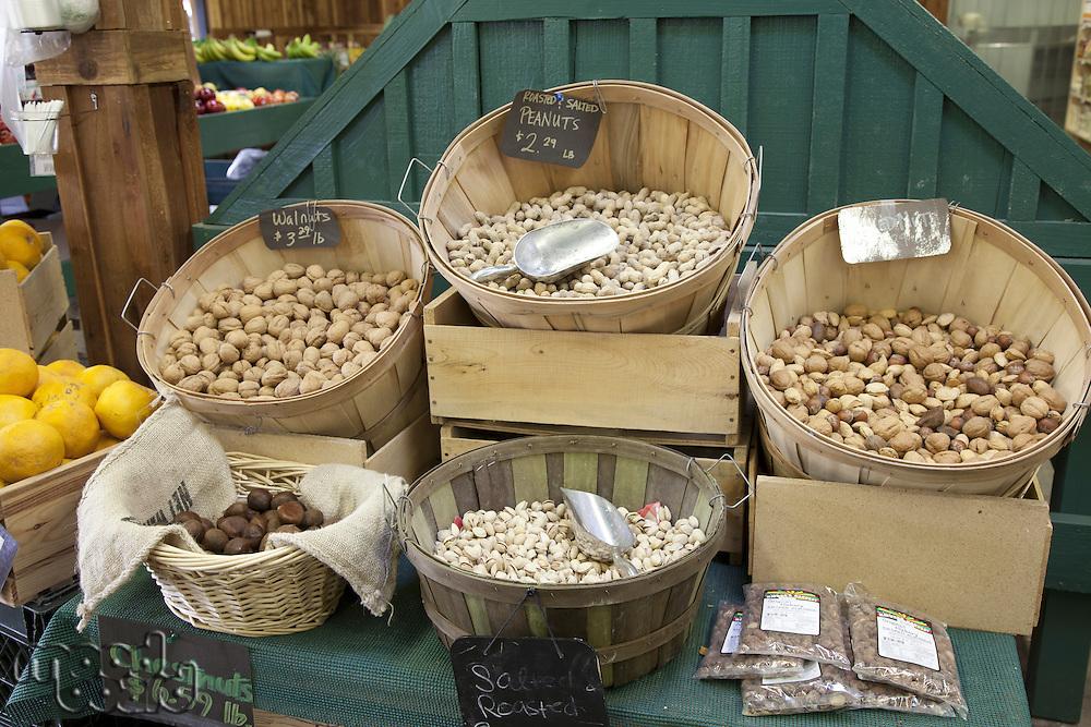 Fruits in basket on display in market