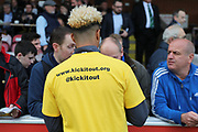AFC Wimbledon striker Lyle Taylor (33) signing autographs for fans during the EFL Sky Bet League 1 match between AFC Wimbledon and Plymouth Argyle at the Cherry Red Records Stadium, Kingston, England on 21 October 2017. Photo by Matthew Redman.
