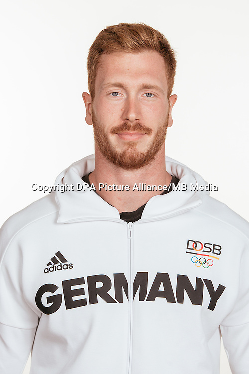 Christoph Harting poses at a photocall during the preparations for the Olympic Games in Rio at the Emmich Cambrai Barracks in Hanover, Germany, taken on 14/07/16 | usage worldwide