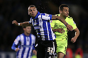 Jack Hunt and Sam Baldock during the Sky Bet Championship Play Off First Leg match between Sheffield Wednesday and Brighton and Hove Albion at Hillsborough, Sheffield, England on 13 May 2016.