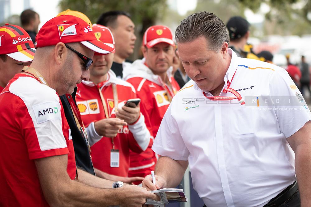 ALBERT PARK, VIC - MARCH 15: McLaren F1 Team boss Zak Brown arrives at The Australian Formula One Grand Prix on March 15, 2019, at The Melbourne Grand Prix Circuit in Albert Park, Australia. (Photo by Speed Media/Icon Sportswire)