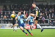 Carlisle United Defender Clint Hill (29) and Wycombe Wanderers Midfielder Matthew Bloomfield (10) battle for the ball during the EFL Sky Bet League 2 match between Wycombe Wanderers and Carlisle United at Adams Park, High Wycombe, England on 3 February 2018. Picture by Stephen Wright.