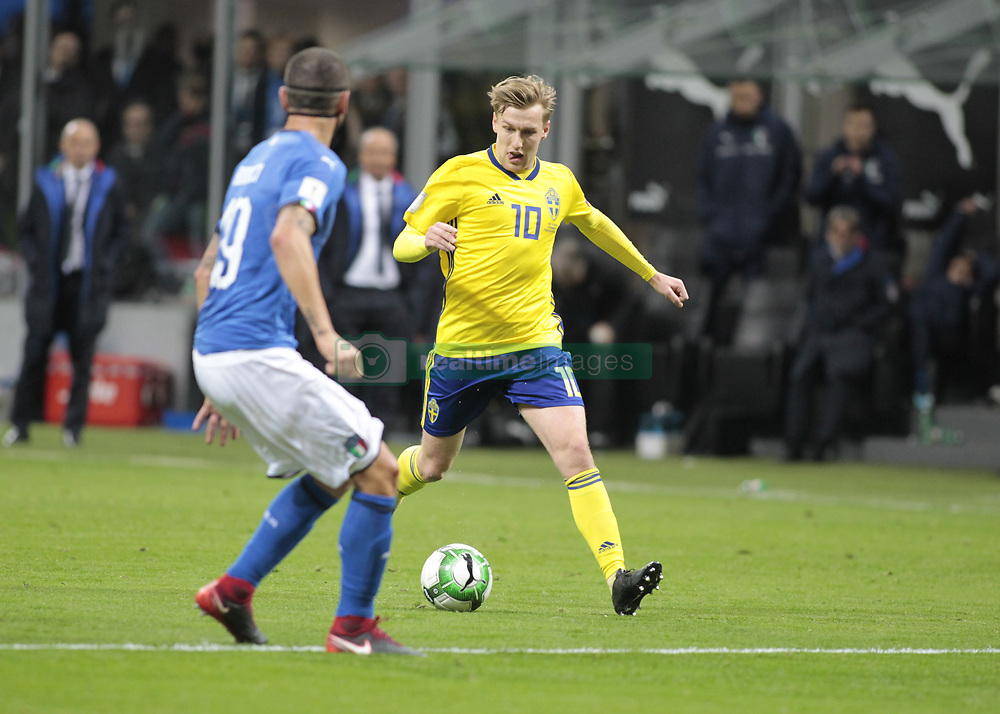 November 13, 2017 - Milan, Italy - Emil Forsberg during the playoff match for qualifying for the Football World Cup 2018  between Italia v Svezia, in Milan, on November 13, 2017. (Credit Image: © Loris Roselli/NurPhoto via ZUMA Press)