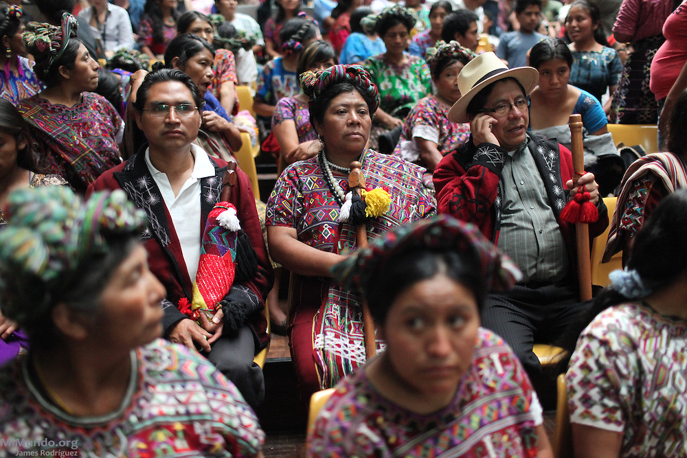 Ixil Mayan Indigenous authorities await sentencing. For the first time in world history, a former head of state was not only tried for genocide and crimes against humanity in a national court, but found guilty of these charges. Former Guatemalan de facto head of state Jose Efrain Rios Montt, who ruled Guatemala from March 1982 to August 1983, was sentenced to 80 years of jail. Guatemala City, Guatemala. May 10, 2013.