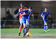 Joe Bunney, Semi Ajayi during the Sky Bet League 1 match between Rochdale and Crewe Alexandra at Spotland, Rochdale, England on 16 February 2016. Photo by Daniel Youngs.
