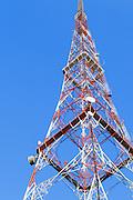 Lattice television broadcast tower and tv antennas at Mt Coot-tha, Brisbane, Queensland, Australia
