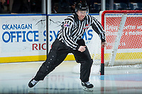 KELOWNA, CANADA - OCTOBER 20: Linesman Cody Wanner enters the ice for warm up at the Kelowna Rockets against the Portland Winterhawks on October 20, 2017 at Prospera Place in Kelowna, British Columbia, Canada.  (Photo by Marissa Baecker/Shoot the Breeze)  *** Local Caption ***