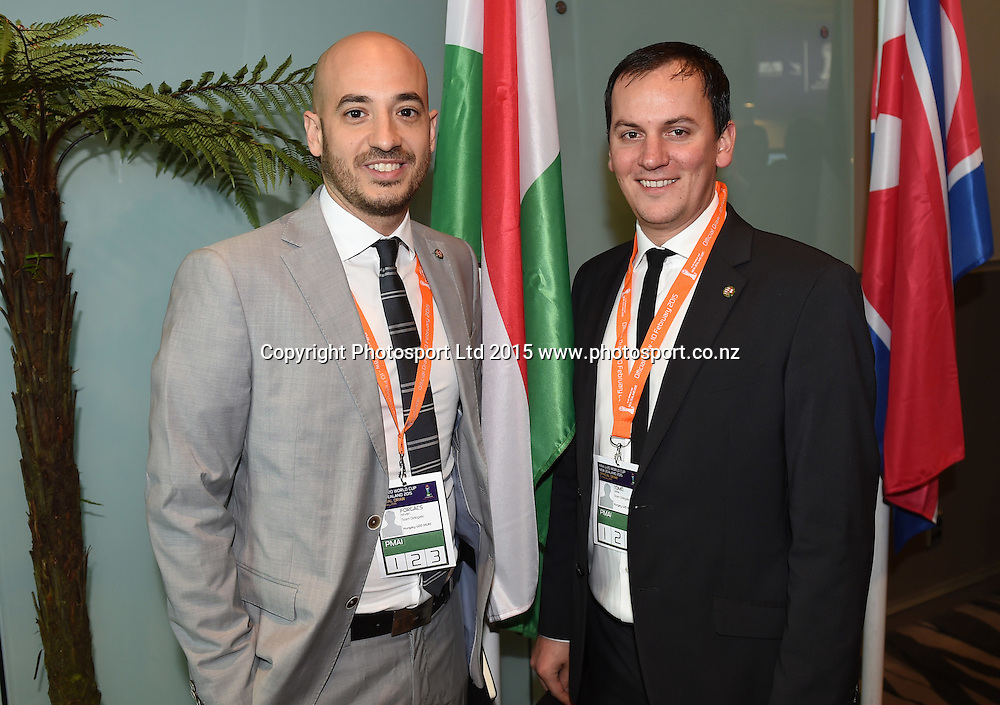 Hungary officials. Official Draw for the FIFA U 20 Football World Cup, New Zealand 2015. Sky City, Auckland. Tuesday 10 February 2015. Copyright photo: Andrew Cornaga / www.photosport.co.nz