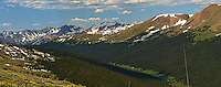 Rocky Mountain National Park Panorama on Trail Ridge Road. Images taken with a Nikon D200 and 105 mm f/2.8 VR macro lens (ISO 100, 105 mm, f/11, 1/160 sec). Composite of five images using Auto Pano Giga 2.5 and the DeHaze Plugin. Additional processing with Focus Magic, Nik Define, Topaz Detail (Color Jump), and Photoshop CS5.