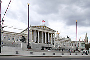 Austrian Parliament Building with dramatic sky