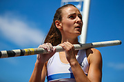 Courtney MACGUIRE competes in the Women's Pole Vault during the Muller British Athletics Championships at Alexander Stadium, Birmingham, United Kingdom on 25 August 2019.