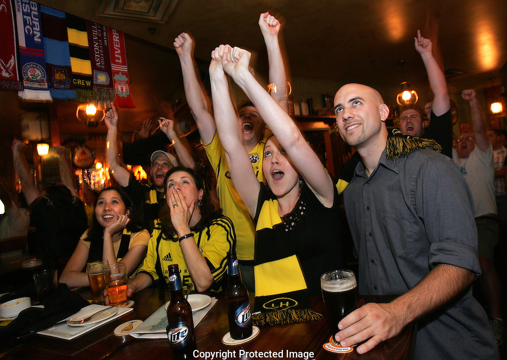 Crew fans react after the crew score a goal against New England Saturday September 27, 2008 at Fado Irish Pub at Easton.
