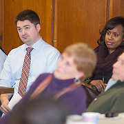 Boston City Councilors Josh Zakim (L) and Ayanna Pressley attend a meeting regarding a new Mission Hill building development project at The Mission Church on January 22, 2015 in Boston, Massachusetts. (Photo by Elan Kawesch/The Times of Israel)