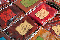 Packets fo spices for sale at the Spice Market in Zanzibar, Tanzania