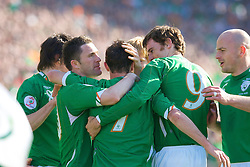 DUBLIN, REPUBLIC OF IRELAND - Saturday, March 24, 2007: Republic of Ireland's Stephen Ireland (C) celebrates the opening goal against Wales, with his team-mates Robbie Keane, Kevin Kilbane and Lee Carsley, during the UEFA European Championships 2008 Group D qualifying match at Croke Park. (Pic by Zaneta Kukucova/Propaganda)