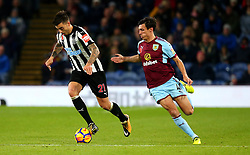 Joselu of Newcastle United takes on Jack Cork of Burnley - Mandatory by-line: Robbie Stephenson/JMP - 30/10/2017 - FOOTBALL - Turf Moor - Burnley, England - Burnley v Newcastle United - Premier League