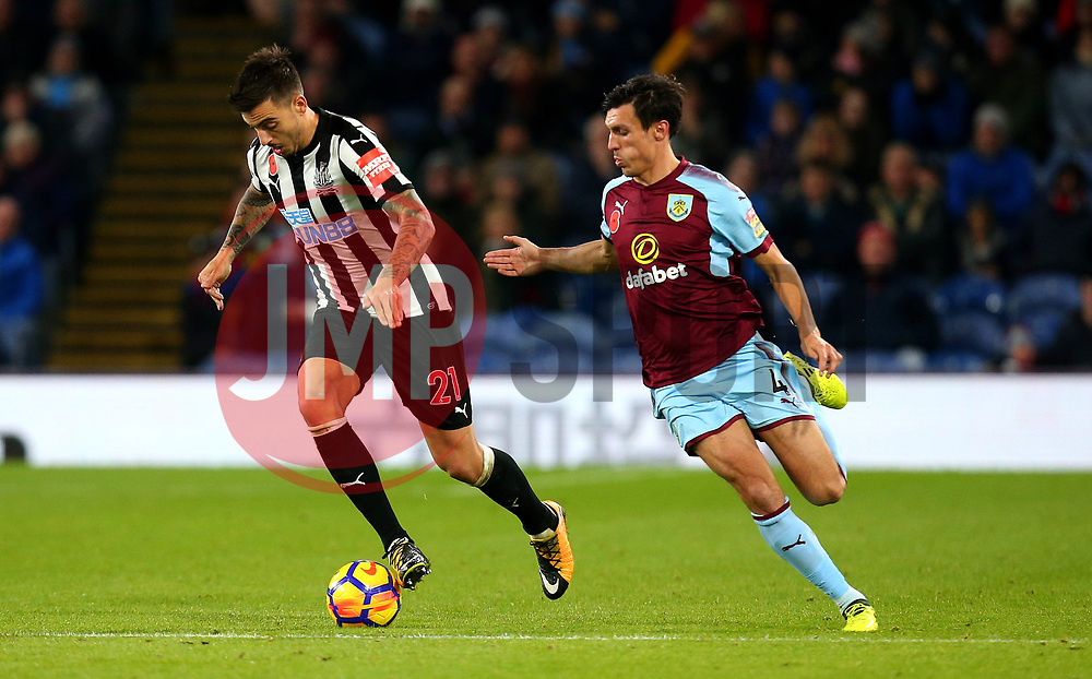 Joselu of Newcastle United takes on Jack Cork of Burnley - Mandatory by-line: Robbie Stephenson/JMP - 30/10/2017 - FOOTBALL - Turf Moor - Burnley, England - Burnley v Newcastle United - Premier League