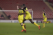 Burton Albion midfielder Jacob Davenport (19) celebrates scoring a goal, making the score 2-0, with team-mate Lucas Akins (10) during the EFL Sky Bet Championship match between Barnsley and Burton Albion at Oakwell, Barnsley, England on 20 February 2018. Picture by Richard Holmes.