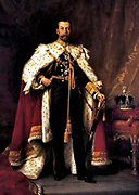 George V  1865 –  1936, king of the United Kingdom and emperor of India,  1910 – 1936. King George V in his coronation robes, Sir Luke Fildes, 1911