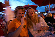 Newport, RI 2007 - Couple enjoys summer evening on Black Pearl Patio