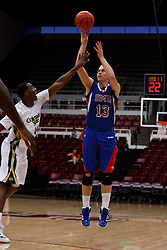 Nov 14, 2011; Stanford CA, USA;  Southern Methodist Mustangs guard Aliaksei Patsevich (13) shoots over Colorado State Rams forward Greg Smith (44) during the first half of a preseason NIT game at Maples Pavilion.  Mandatory Credit: Jason O. Watson-US PRESSWIRE