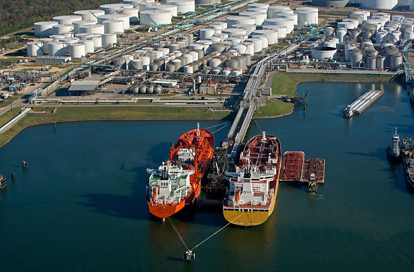 Aerial view of tankers docked Port of Houston