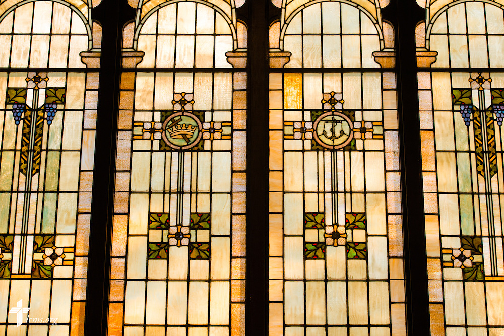 Stained glass windows at Trinity Lutheran Church on Wednesday, July 15, 2015, in Danville, Ill. LCMS Communications/Erik M. Lunsford