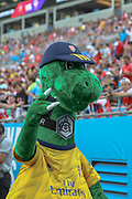 Arsenal mascot Gunnersaurus got the crowds cheering in a game against Fiorentina during an International Champions Cup game, Saturday, July 20, 2010, in Charlotte, NC. Arsenal defeated Fiorentina 3-0. (Brian Villanueva/Image of Sport)