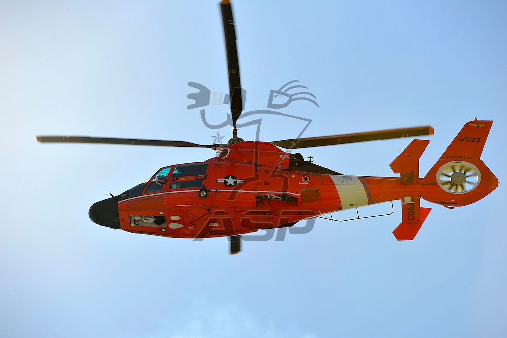 Joliet,Il - Sep 15, 2012: A Coast Guard helicopter performs the fly over before the Dollar General 300 at Chicagoland Speedway in Joliet, Il.