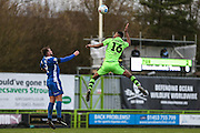 Forest Green Rovers Ethan Pinnock(16) heads the ball during the Vanarama National League match between Forest Green Rovers and Macclesfield Town at the New Lawn, Forest Green, United Kingdom on 4 March 2017. Photo by Shane Healey.