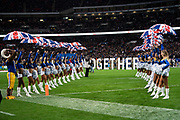 LA Rams cheerleader line out at the start of the game during the International Series match between Los Angeles Rams and Cincinnati Bengals at Wembley Stadium, London, England on 27 October 2019.