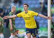 FODBOLD: Mikael Uhre (Brøndby IF) jubler efter scoringen til 1-0 under kampen i Superligaen mellem Brøndby IF og FC Nordsjælland den 13. maj 2019 på Brøndby Stadion. Foto: Claus Birch.