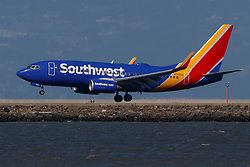Boeing 737-752 (N7835A) operated by Southwest Airlines landing at San Francisco International Airport (KSFO), San Francisco, California, United States of America